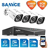 SANNCE XPOE Kit de Seguridad 1080P 4CH NVR sin Disco Duro de Vigilancia y 4 IP Sistema Cámaras de Vigilancia IP66 Impermeable Visión Nocturna 30m -sin HDD
