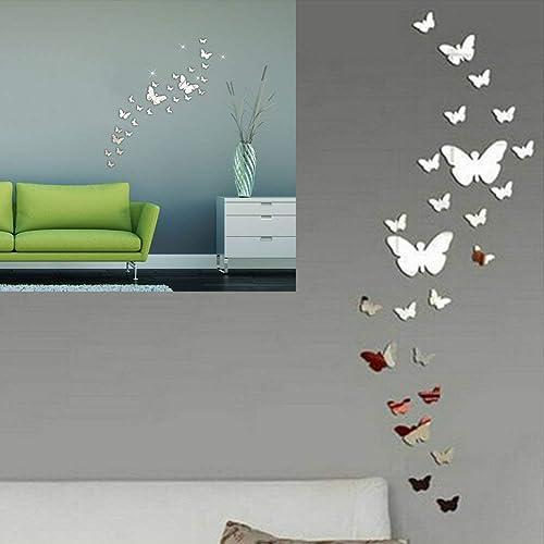 SwirlColor Stickers Muraux Miroir Papillon Decoration 3D Miroir Adhesif Mural Stickers Muraux 30 x Combinaison de Pap...