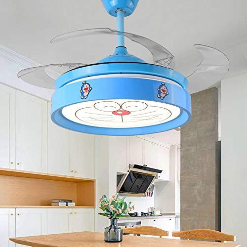 Lampadario ventilatore camera da letto per bambini a forma di cartone animato per bambini Lampadario a LED soggiorno per bambini telecomando inverter inverter-conversione Doraemon_frequency