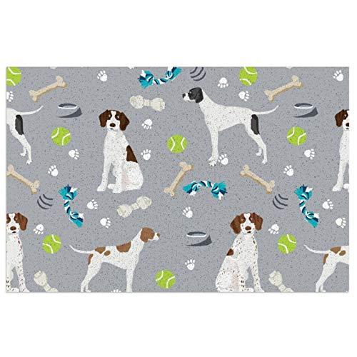 Felpudo, diseño de perro y juguetes de puntero inglés gris con respaldo de PVC resistente, alfombrilla antideslizante para uso en interiores y exteriores