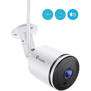 Ctronics 屋外 防犯 カメラ 監視カメラ wifi 双方向音声通信 暗視撮影 HD1080P 110°広い角度 IP66 防水 動体検知 自動録画 メール通知 SDカード対応(128Gまで)日本語アプリと説明書