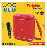 OUD Bluetooth 10W Party Speaker with Karaoke Wireless Microphone Mic with Deep Bass AUX & USB Battery Life 2400mAH Portable Handheld Karaoke Powerful Mic for All Smartphones & Tablets (Multicolor)