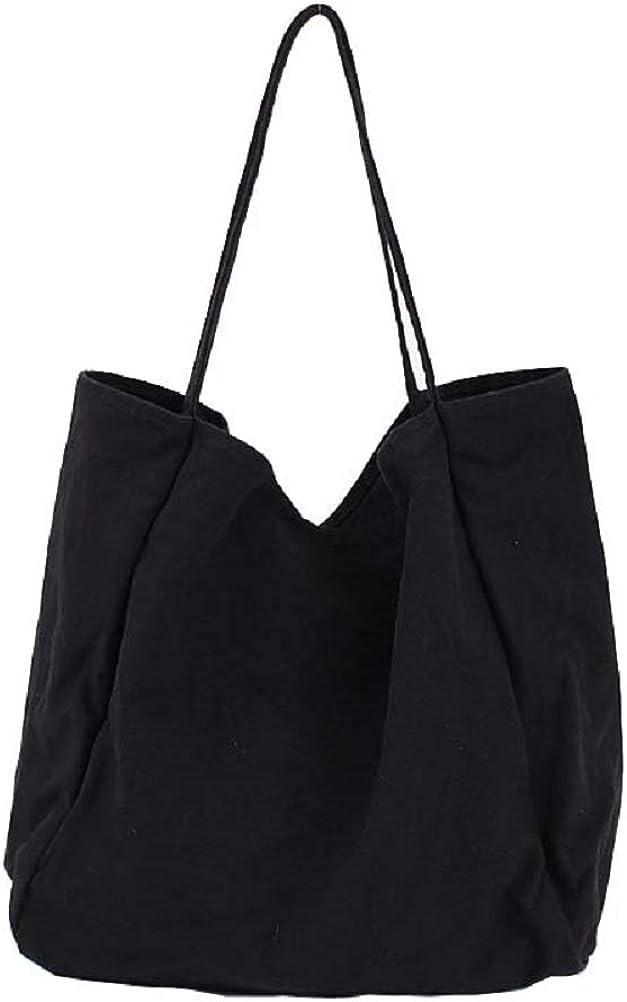 Womens Canvas Tote Bag Handbag Casual Single Shoulder Travel Purse Simple Pure Color Hobo Bag Large Capacity