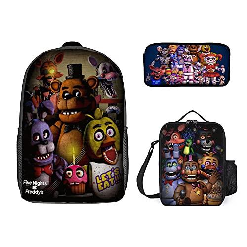 Backpacks Set, Travel Laptop Backpack for Boys Girls, Collage Students Book Bag Backpack 3-Piece Backpack Set Pencil Case Lunch Bag