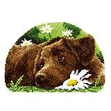 XUJINGJIE Alfombra de punto para hacer tú mismo, alfombra de bordado sin terminar, kits de producción con patrón de lienzo impreso para decoración del hogar, perros, A
