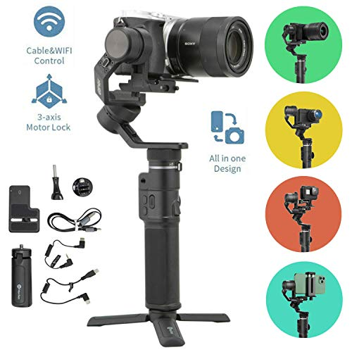 FeiyuTech G6 Max Gimbal Stabilizer 3-Axis Handheld for Mirrorless Camera Like Sony a7,RX100 Series,for Action Camera Gopro 8 7 6 5, Smartphone iPhone 11 Pro Max Huawei P30,1.2Kg Payload,Splash Proof