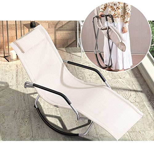 HMQ Zhen GUO Folding Rocking Chair Orbital Lounger with Pillow and Footrest, Lounge Chair Recliner Chair, Foldable Outdoor Zero Gravity Chair for Camping, Fishing, Beach, Patio (Color : Beige)