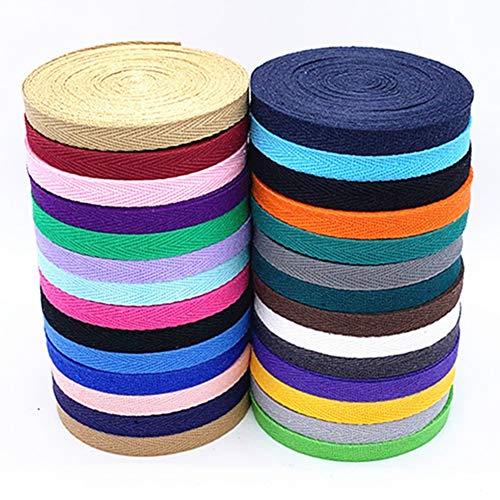 Egurs Baumwoll Gurtband 28m Meter 10mm Nahtband Köperband Schrägband,28 Farben