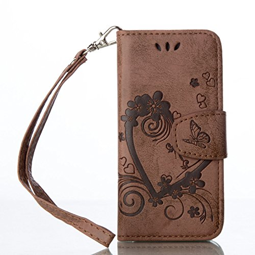 Lomogo Funda Cartera iPhone 5S/SE/5, Funda de Cuero con Tapa Ranuras Tarjetas Soporte Plegable Antigolpes Carcasa Case para Apple iPhone SE 5S 5 - LORXZ020005 Marrón