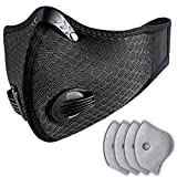 Anti Pollution Dust Mask Cycling Mask with 2 Valves and 4 Activated Carbon N99,for Running, Biking, and Outdoor Activitie (Grid-black)