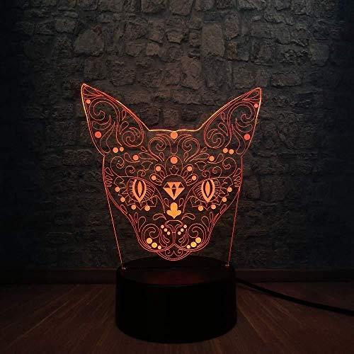 Misterioso animal gato cabeza de ciervo 3D USB Rc lámpara 7 colores cambio ilusión luz de noche escritorio niños juguetes dormitorio decoración regalo
