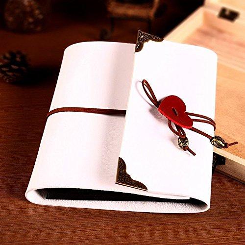 XIDUOBAO, album portafoto, stile vintage, fatto a mano, in pelle, con ciondolo a forma di cuore, per fai-da-te, idea regalo, (L), White, L