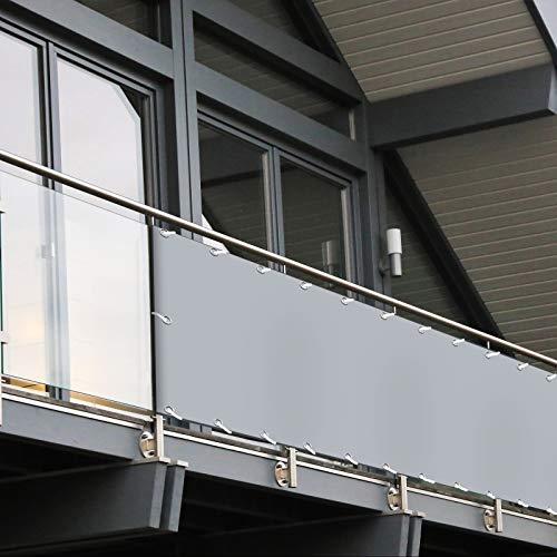 Balkon Sichtschutz PVC | 90x600 cm | Extra Blickdicht | Wetterfest | mit UV-Schutz | Deko für Balkongeländer | 6 Farben & Designs (Grau)
