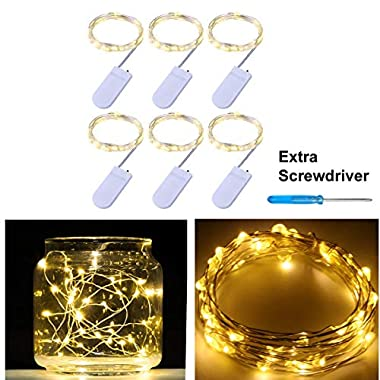 Pack of 6 LED Moon Starry String Lights with 20 Micro LEDs on 7 Feet Silver Coated Copper Wire, 2 x CR2032 Battery Power(Included), for DIY Wedding Centerpiece or Table Decorations (Warm White)