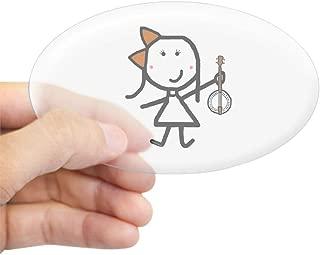 CafePress Girl & Banjo Oval Bumper Sticker, Euro Oval Car Decal