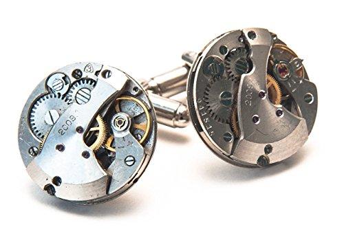 Jeff Jeffers Handmade Boutons de manchette ronds en forme de mécanisme de montre Style Steampunk Pour homme/mariage Argenté 21 mm