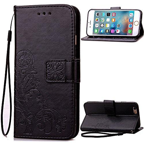 Qiaogle Telefon Case - PU Leder Wallet Schutzhülle Case für Sony Xperia Z4 / Xperia Z3 Plus / E6533 - SD06 / Schwarz Lucky Clover