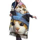 Bufanda de mantón Mujer Chales para, Sombreros divertidos Bufanda de cachemir de galaxia de gato...