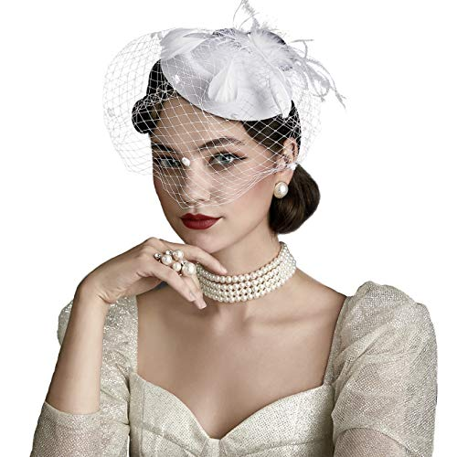 Coucoland Feder Fascinators Hut Damen Blumen Mesh Elegant Hochzeit Fascinator Haarreif Cocktail Tee Party Accessoires (Weiß)