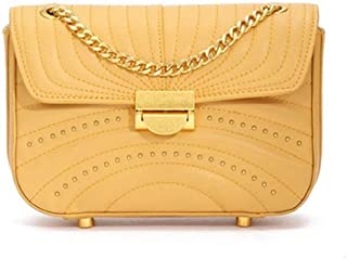 LVfenghe New Chain Shoulder Bag Trend Casual Fashion Europe and America Messenger Bag Small Leather Handbag Size:20 * 6 * 14cm (Color : Yellow)
