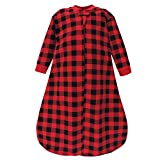 Hudson Baby Unisex Baby Premium Quilted Long Sleeve Sleeping Bag and Wearable Blanket, Buffalo Plaid, 0-6 Months