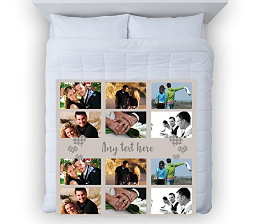 L&S PRINTS Large Warm Sofa Fleece Throw Personalised Gingham Heart Neutral Photo Fleece Soft Bed Blanket Chair