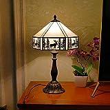 Lámpara de mesa Tiffany para dormitorio de iluminación creativa de restaurantes con seis lados de Deer, lámpara de...