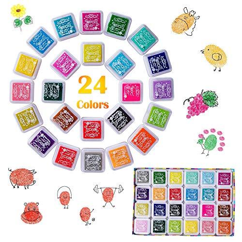 AISHN Stempelkissen Set, Fingerabdruck Stempelkissen Ungiftig Abwaschbar Tinte Stamp Pad für Papier Handwerk Stoff Malerei DIY Geburtstag Geschenk Scrapbook(24Farben)