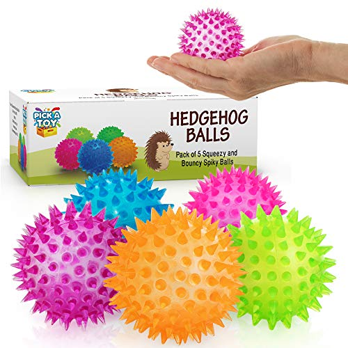 Squishy Stress Relief Sensory Toys Fidget Spiky Ball 5 - Pcs Set – Eco-Friendly Squeezy Antistress Toy Balls for Men, Women, Adults, Teens & Children –Ideal for People with OCD, ADHD, ADD & Autism