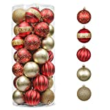 Valery Madelyn 35ct 70mm Luxury Red and Gold Christmas Ball Ornaments, Shatterproof Christmas Tree Ornaments for Xmas Tree Decoration Home Decor, Themed with Tree Skirt (Not Included)