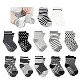 Amteker 12 Paar Baby Socken, Anti Rutsch Socken Baby aus Baumwolle, 10-36 Monate Baby Mädchen & jungen Baby ABS Socken Kinder, little, Schwarz