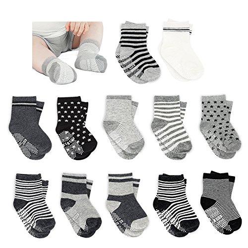 Amteker Amteker 12 Paar Baby Socken, Anti Rutsch Socken Baby aus Baumwolle, 10-36 Monate Baby Mädchen und jungen Baby ABS Socken Kinder, little, Schwarz