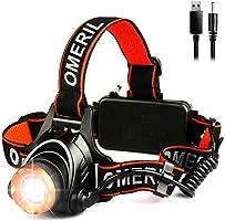 OMERIL Linterna Frontal LED, Linterna Cabeza USB Recargable 4000mAh, 90° Ajustable y Zoomable Luz Frontal con 3 Modos de...