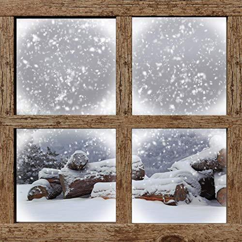 Ventana falsa 3D etiqueta ventana marco etiqueta madera ventana invierno nieve papel tapiz mural aplique decoración del hogar fondo niños dibujos animados animal paisaje vinilo 60x90cm