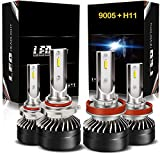 AUSI H11/H8/H9 Low Beam 9005/HB3 High Beam LED Headlight Bulbs Combo Package Kit with Fan CSP Chips 6000K Xenon white IP65 - (4 Pack)