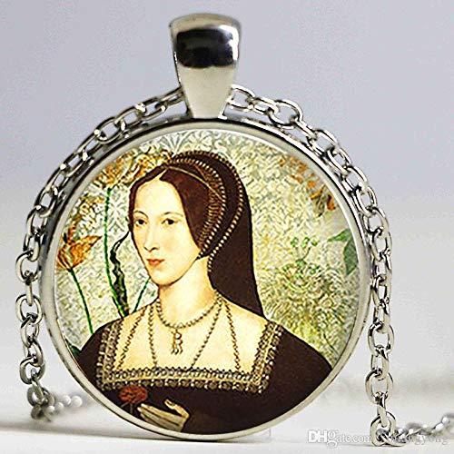 Arte Immagine Anne Boleyn Ciondolo Retrò Rotondo Tudor Vetro Cupola Ciondolo Donna Ragazza Moda Gioielli Regalo Di Natale Catena Lunga