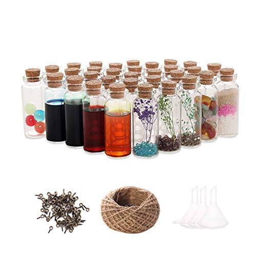 VOFUWS 48PCS 20ml Mini Glass Jars Bottles with Corks(48pcs Eye Screws and 30-meter twine and 3pcs Funnel)