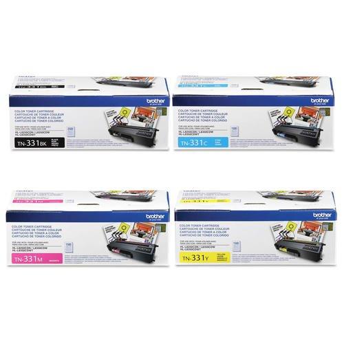 Brother TN-331BK TN-331C TN-331M TN-331Y DCP-L8400 L8450 HL-L8250 L8350 MFC-L8600 L8650 L8850 Toner Cartridge Set (Black Cyan Magenta Yellow, 4-Pack) in Retail Packaging