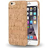 NALIA Corcho Funda Compatible con iPhone 6 6S, Aspecto de Madera Carcasa Dura Ultra-Fina Hard-Case Cover, Cubierta Protectora Delgado Telefono Movil Smart-Phone Bumper, Designs:Light Cork
