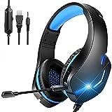 Auriculares Gaming con Micrófono PS4, Cascos Gaming Switch,Auricularepara Juegos Cancelación Ruido, 7.1 Sonido Envolvente,3.5mm y Luz LED para PS4/PS5 /PC/Xbox One/Tableta