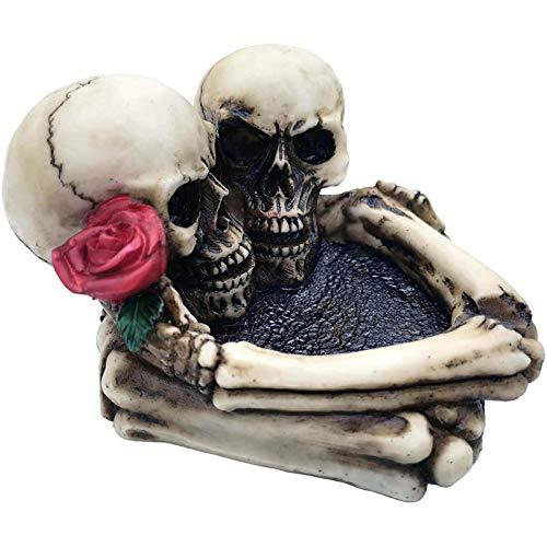 Cendrier de crâne de Cadeau de Saint Valentin - Amant de Rose de crâne de Squelette ne Meurt jamais de cendrier en résine Contenant Le crâne de tête Humaine