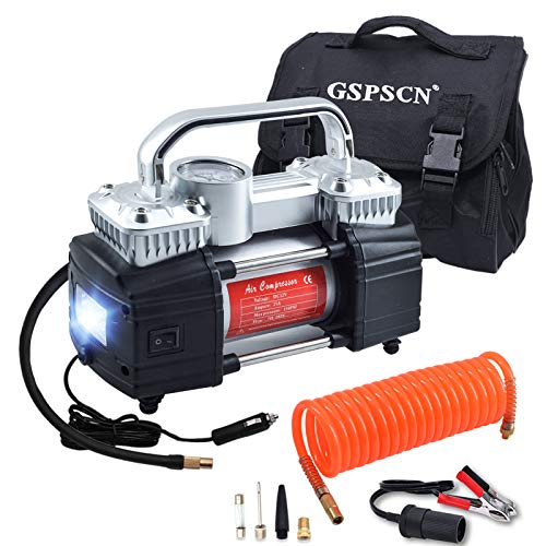 GSPSCN Silver Dual Cylinder 12V Air Compressor Pump for Car, Heavy Duty Portable Tire Inflator 150PSI with LED Work Lights for Auto,Truck,SUV, RV,Balls etc