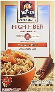 Quaker High Fiber Cinnamon Swirl Instant Oatmeal 12.6 Oz (Pack of 2)