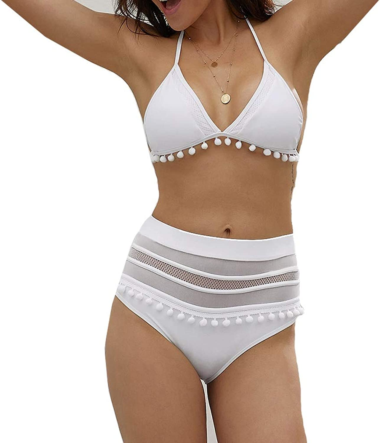 ROZKITCH Womens High Waist Halter Tie Back Two Pieces Bikini Set Padded Tassel Swimsuit