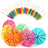 ZARRS Cocktail Parapluies,Décoration De Cocktail en Papier 50Pcs Boissons Parasols pour Cocktail Boissons...