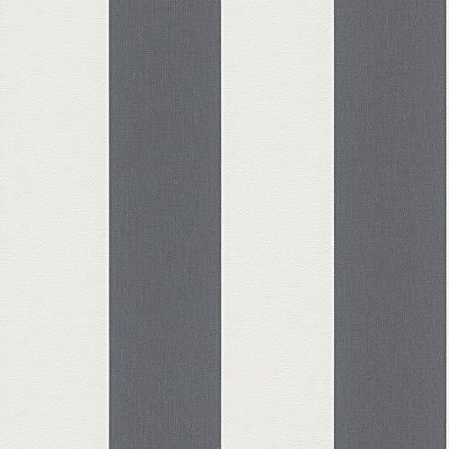 Vliestapete Tapete Streifen Getsreifte Tapeten Tapete Büro 179050 17905-0 A.S. Création Black & White 4 | Grau Weiß | Rolle (10,05 x 0,53 m) = 5,33 m²