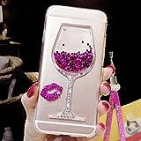 Artfeel Glitzer Flüssigkeit Hülle für Huawei P Smart, Glänzend Strass Fließen Treibsand Funkeln Sterne Weinglas Handyhülle,Ultra Dünn Kristall Weich Silikon Hülle mit Handschlaufe-Rosa
