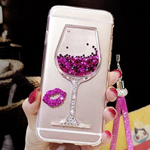 Artfeel Briller Liquide Sables Mouvants Coque pour iPhone 7/iPhone 8, 3D Brillant Strass Scintillant Étoiles Verre de Vin Étui,Mince Cristal Souple Silicone Housse avec Dragonne-Rose