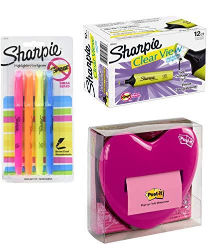 Office Bundle Post-It Pop Up Heart Note Dispenser, Sharpie Clear View Yellow Highlighter 12 Pack & 4 Sharpie Highlighter Pens Asst. Colors