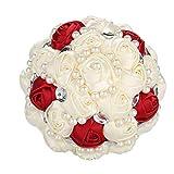 Bouquet De Mariée, Rose Rouge Et Blanc Cristal Bouquet De Mariée Demoiselle d'honneur De Mariage Perle Bouquet De Fleur Artificielle Faux Fleur(Beige + vin Rouge Vif 21 cm)